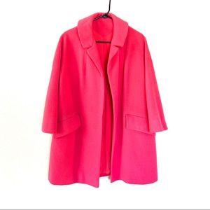 Vintage Stroock Pink Overcoat 3/4 Sleeve Wool L